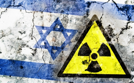 Old cracked wall with radiation warning sign and painted flag, flag of Israel