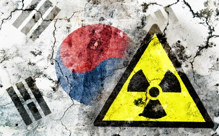 Old cracked wall with radiation warning sign and painted flag, flag of South Korea Stock Photo