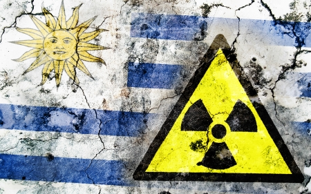 Old cracked wall with radiation warning sign and painted flag, flag of Uruguay Stock Photo - 24138017