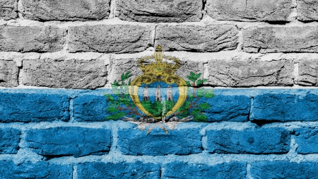 old factory: Very old brick wall texture, flag of San Marino Stock Photo