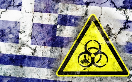 polonium: Old cracked wall with biohazard warning sign and painted flag, flag of Greece