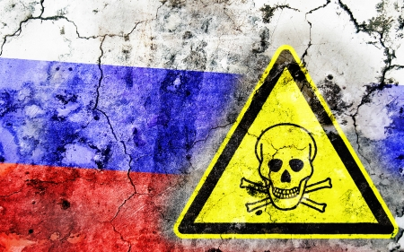 poisoning: Old cracked wall with poison warning sign and painted flag, flag of Russia