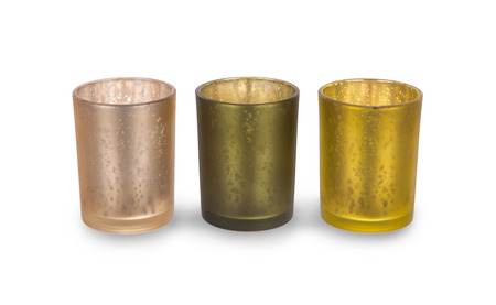 candleholders: Three green candleholders, isolated on a white background