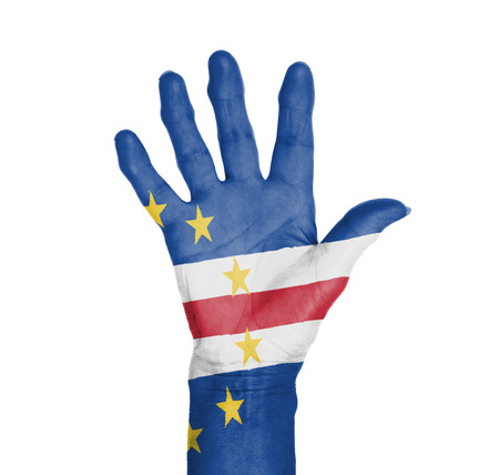 Palm of a woman hand, painted with flag of Cape Verde photo