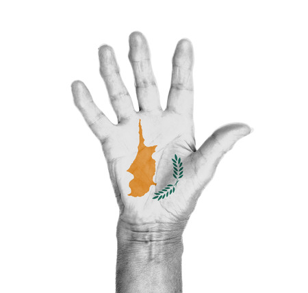 Palm of a woman hand, painted with flag of Cyprus photo