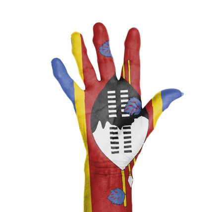 Palm of a woman hand, painted with flag of Swaziland photo