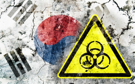 Old cracked wall with biohazard warning sign and painted flag, flag of South Korea