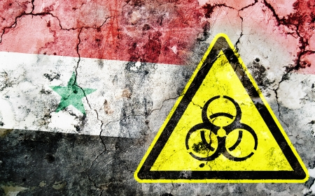 Old cracked wall with biohazard warning sign and painted flag, flag of Syria