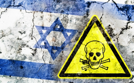 poison sign: Old cracked wall with poison warning sign and painted flag, flag of Israel Stock Photo