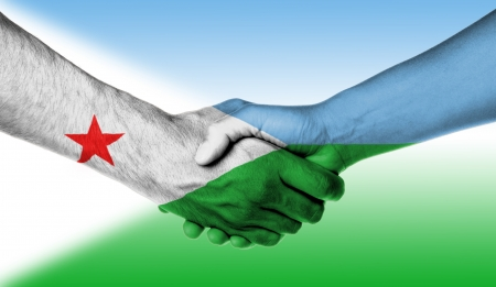 djibouti: Man and woman shaking hands, wrapped in flag pattern, Djibouti