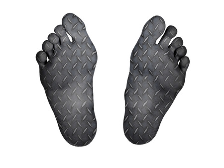 resurrect: Human feet isolated on white, metal plate print Stock Photo