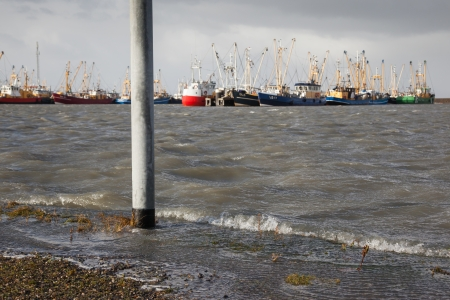 markermeer: Extreme high tide at the dikes of the dutch coastal works