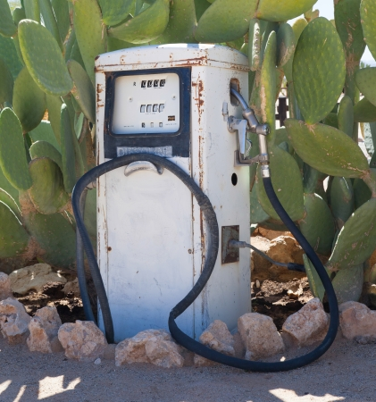 fuelling pump: Old style fuel pump, Namib desert, Namibia