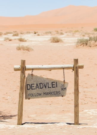 Sign of the Deadvlei (Sossusvlei), the famous red dunes of Namib desert, Namibia photo
