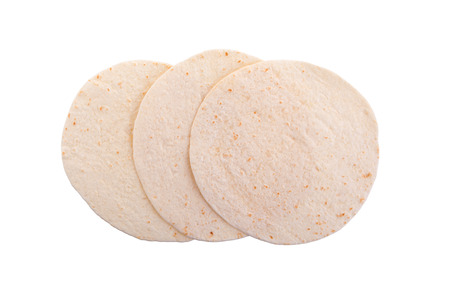 Wheat round tortillas, isolated on white background Stock Photo