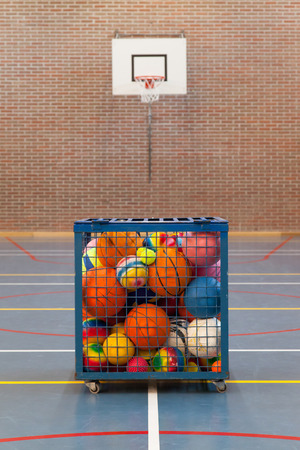 Collection of different balls in a metal cage, school gym