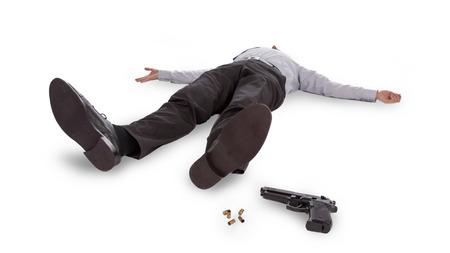 사업가 총을 바닥에 죽은 거짓말