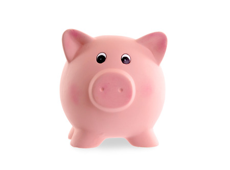 Unique pink ceramic piggy bank isolated on white photo