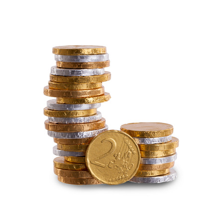 Euro currency, chocolate coins photo