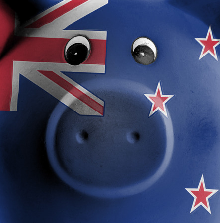 flag of new zealand: Ceramic piggy bank with painting of national flag, New Zealand