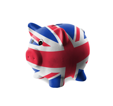 Ceramic piggy bank with painting of national flag, United Kingdom photo