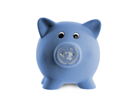 united nations: Ceramic piggy bank with painting of national flag, United Nations