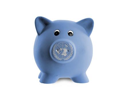 nazioni unite: Salvadanaio di ceramica con la pittura di bandiera nazionale, delle Nazioni Unite