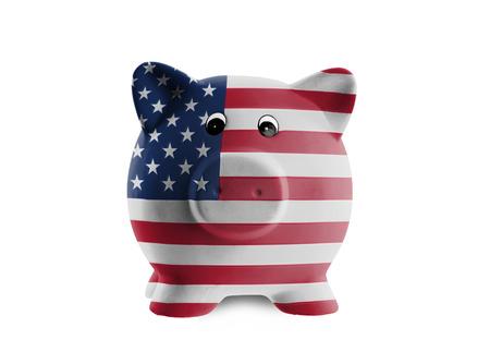 bandiera stati uniti: Salvadanaio di ceramica con la pittura di bandiera nazionale, Stati Uniti