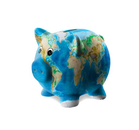 Unique pink ceramic piggy bank isolated, world photo