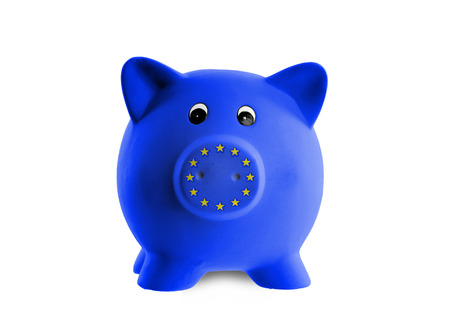 subsidy: Unique pink ceramic piggy bank isolated, European Union