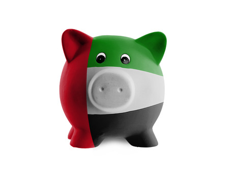 Unique pink ceramic piggy bank isolated, United Arab Emirates photo
