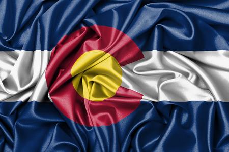flag of colorado: Satin flag, three dimensional render, flag of Colorado
