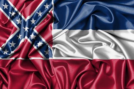 Satin flag, three dimensional render, flag of Mississippi photo