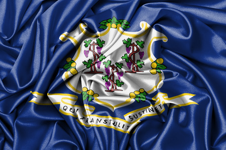 Satin flag, three dimensional render, flag of Connecticut photo