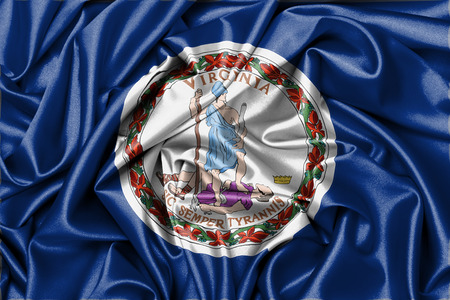 Satin flag, three dimensional render, flag of Virginia photo