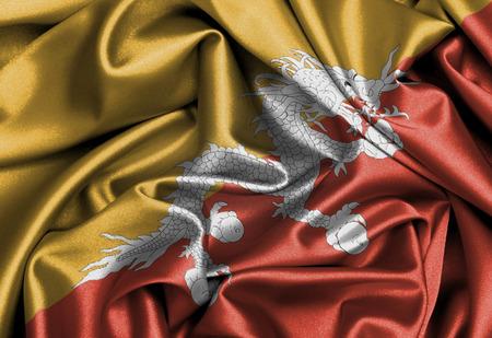 bhutan: Satin flag, three dimensional render, flag of Bhutan