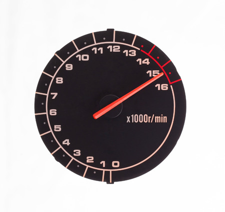 rpm: Isolated motor tachometer isolated on white  Stock Photo