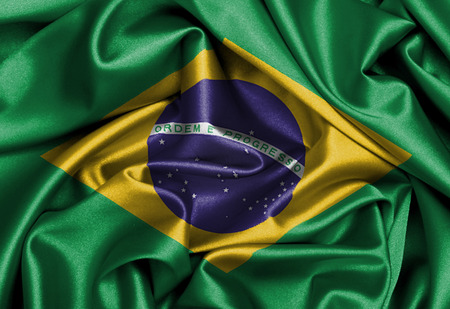 Satin flag, three dimensional render, flag of Brazil photo