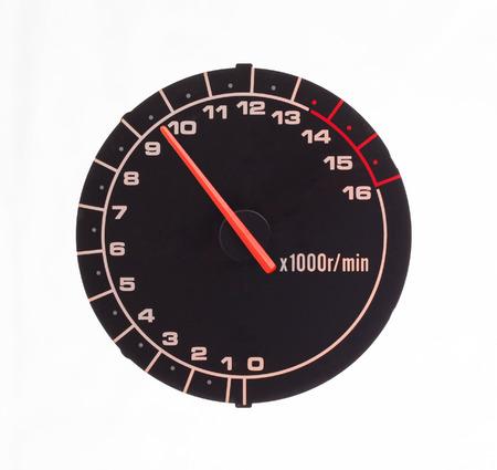 tachometer: Isolated motor tachometer isolated on white  Stock Photo