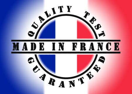 passed test: Quality test guaranteed stamp with a national flag inside, France