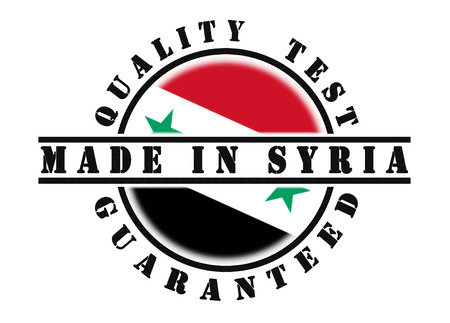 passed test: Quality test guaranteed stamp with a national flag inside, Syria Stock Photo