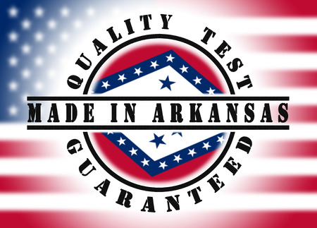 Quality test guaranteed stamp with a state flag inside, Arkansas photo