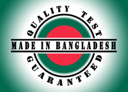 Quality test guaranteed stamp with a national flag inside, Bangladesh photo