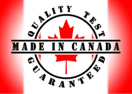 passed test: Quality test guaranteed stamp with a national flag inside, Canada Stock Photo