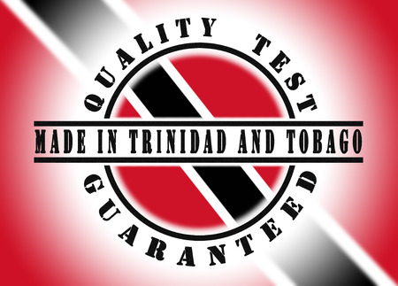Quality test guaranteed stamp with a national flag inside, Trinidad and Tobago photo