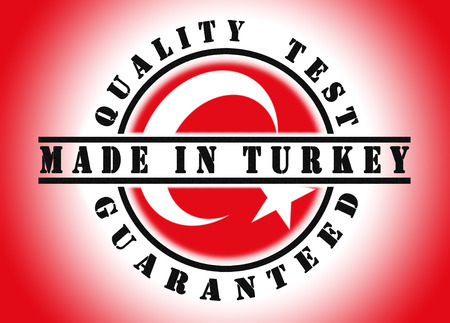 Quality test guaranteed stamp with a national flag inside, Turkey photo