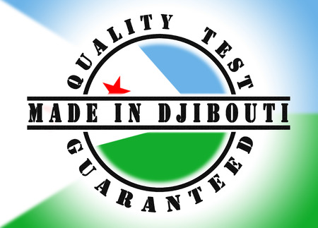 Quality test guaranteed stamp with a national flag inside, Djibouti photo