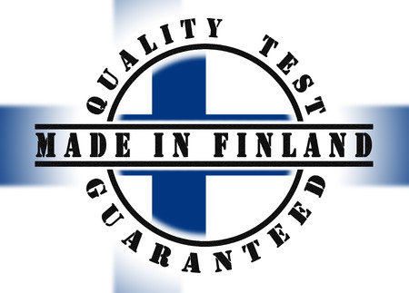 passed test: Quality test guaranteed stamp with a national flag inside, Finland Stock Photo