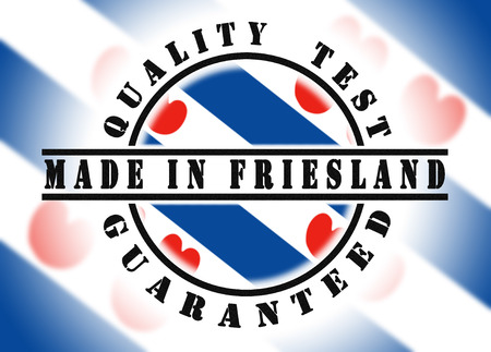friesland: Quality test guaranteed stamp with a national flag inside, Friesland