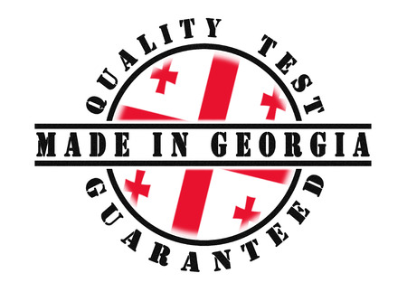 passed test: Quality test guaranteed stamp with a national flag inside, Georgia
